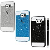 S6 Case, Samsung Galaxy S6 Case (Non Edge) - Badalink Glitter Bling Diamonds Logo Cut Out Design Sparkle Skin [Scratch Resistant] Hard PC Cover 3 Color Cases with Stylus Pen - Silver+Black+Blue