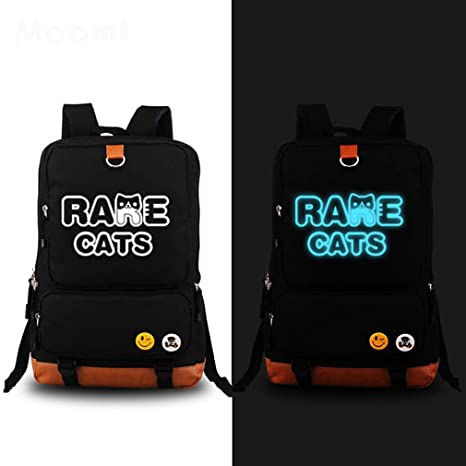 Anime Neko Atsume raras gatos luminoso mochila hombro mochila escuela backpack-black