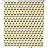 Bee Chevron Shower Curtain: Large Waterproof Luxurious Bathroom Design Woven Fabric