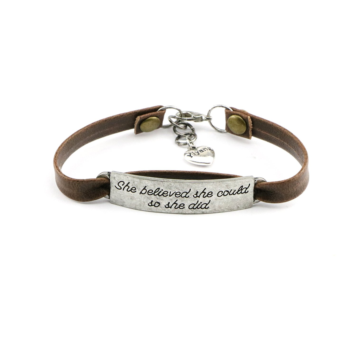 Yiyang She Believed She Could So She Did Leather Bracelet Personalized Jewelry Inspirational Quotes Engraved