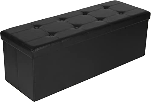 SONGMICS 43 Inches Folding Storage Ottoman Bench, Storage Chest Footrest Padded Seat, Faux Leather, Black ULSF701