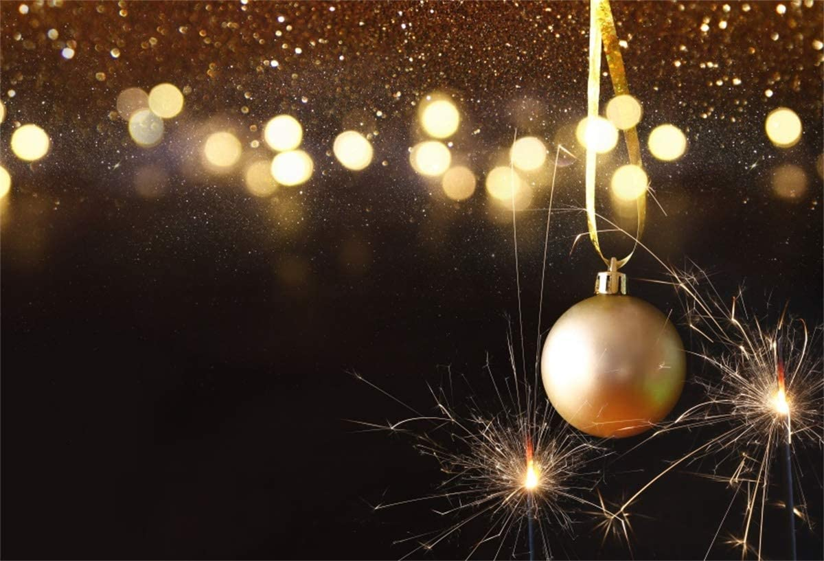 Yeele 10x8ft Christmas Photography Backdrop Christmas Tree Golden Ball Bokeh Background Xmas Party Decoration Kids Adult Portrait Photo Booth Photoshoot Props