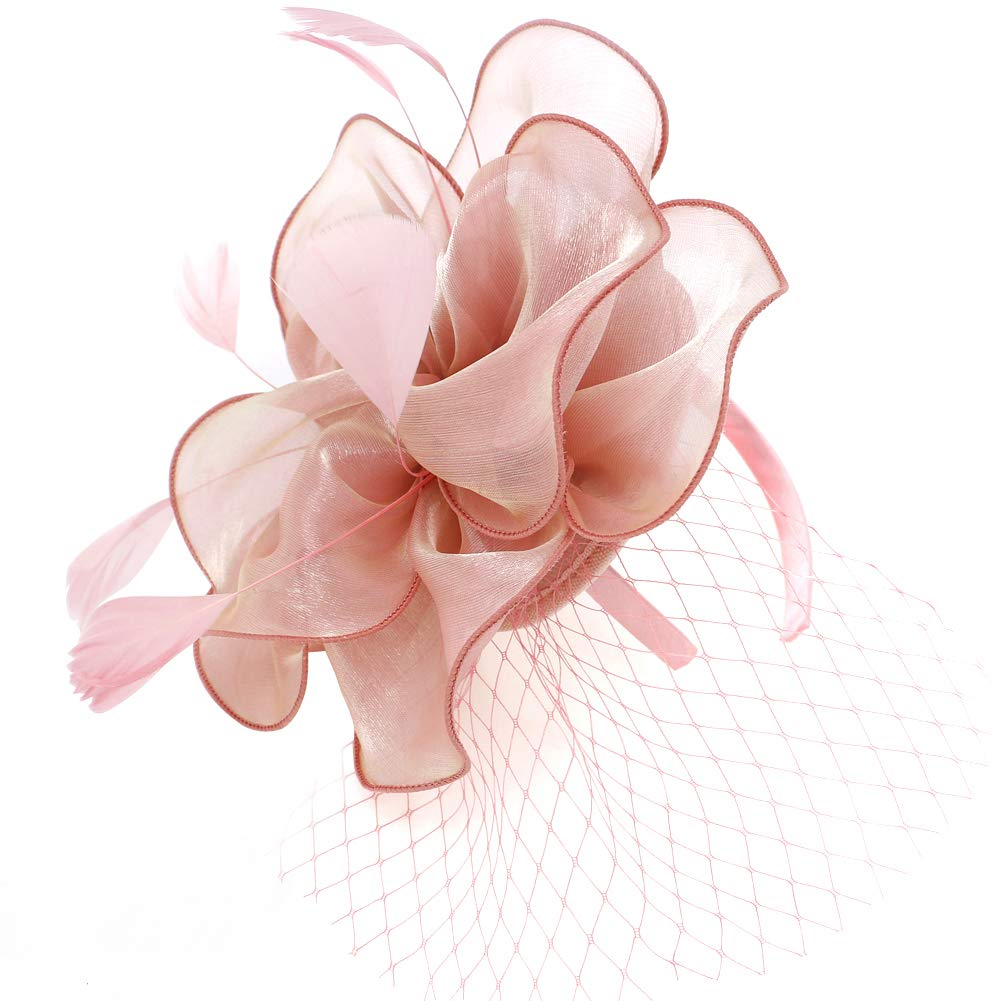 Toplay Dusky Pink Nude Fascinator Sinamay Bridal Wedding Headband Cocktail Feather Mesh Net Veil Party Flower Clip Kentucky Derby Hat for Women Ladies Girls