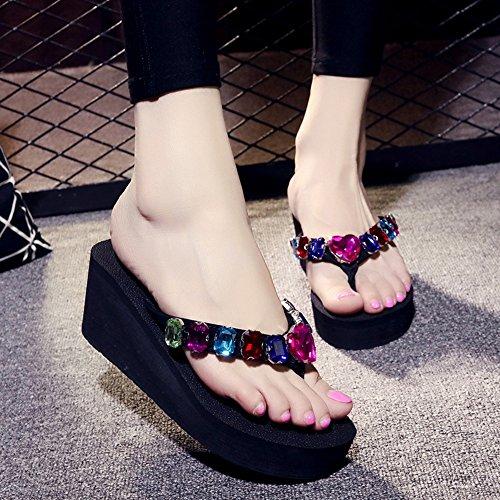 moda sandali 2 di Sandali donna alti strass spiaggia semplice tacchi estate alta Xx1wqwa
