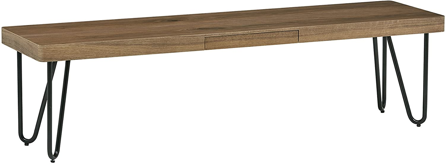 Mid-Century Modern Wood and Metal Bench