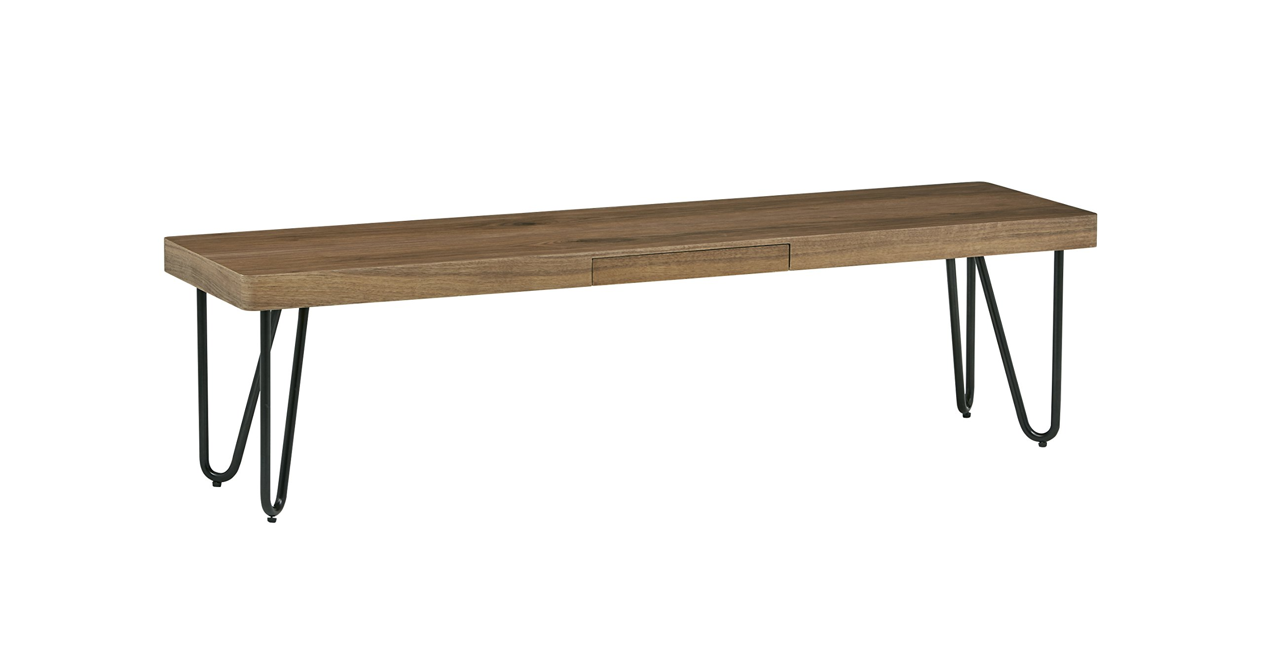 Rivet Hairpin Wood and Metal Short 15.7'' Console Table, Walnut and Black