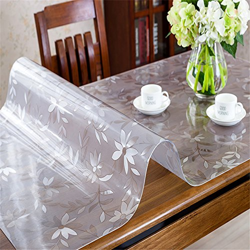 OstepDecor Custom 1.5mm Thick Floral Table Protector for Dining Room Tables Plastic Tablecloth Kitchen Dining Room Wood Furniture Protective Cover | Rectangular 20 x 42 Inches - Polished Lamp Black Desk