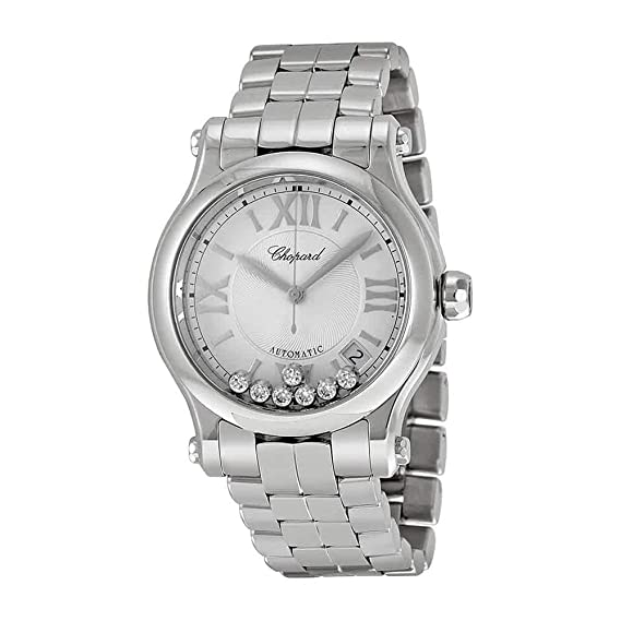 4d6ccaea01935 Image Unavailable. Image not available for. Color  Chopard Happy Sport  Round Ladies Stainless Steel Diamond Automatic Watch 278559-3002