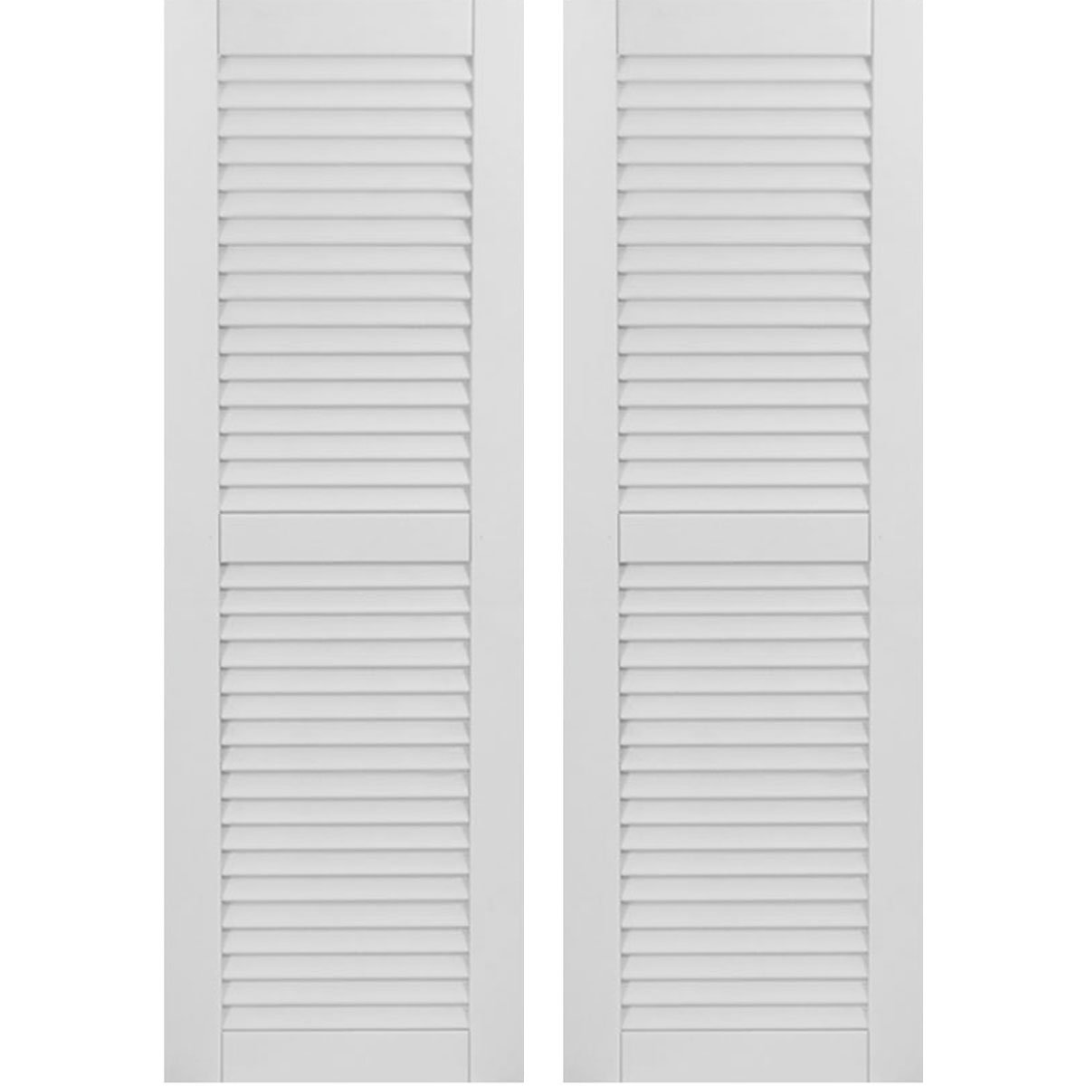 Ekena Millwork CWL15X045PRC Exterior Composite Wood Louvered Shutters with Installation Brackets (Per Pair), Primed, 15