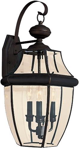 Sea Gull Lighting 8040-71 3-Light Lancaster Medium Outdoor Wall Lantern, Clear Beveled Glass and Antique Bronze