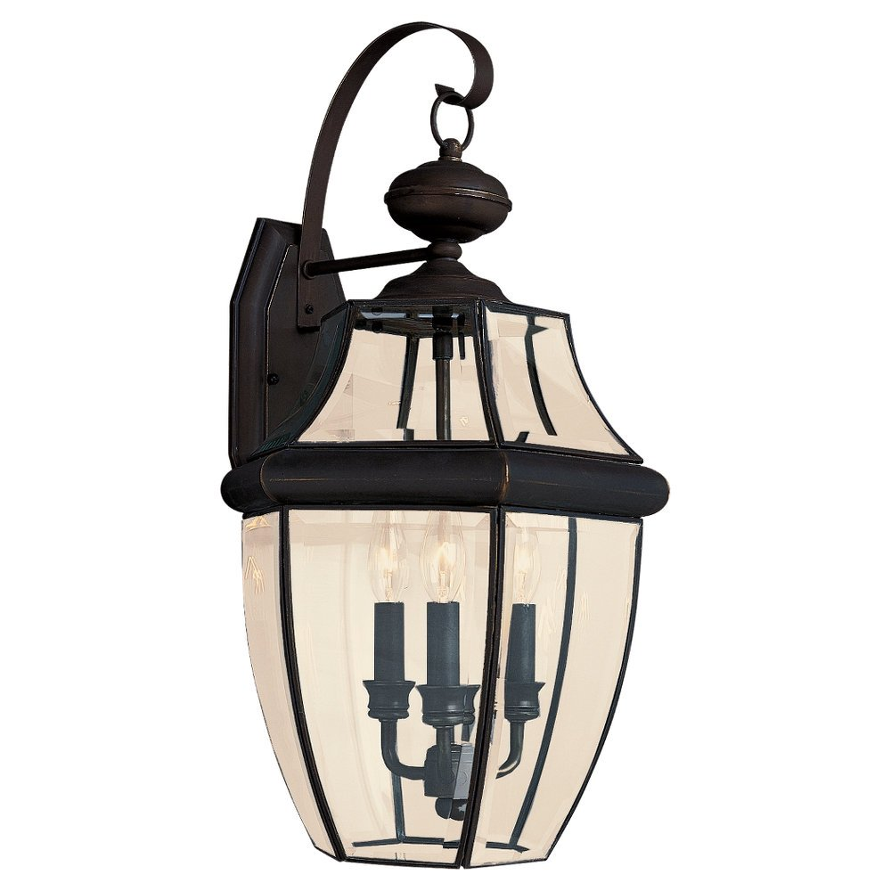 Amazon sea gull lighting 8040 71 3 light lancaster medium amazon sea gull lighting 8040 71 3 light lancaster medium outdoor wall lantern clear beveled glass and antique bronze home improvement aloadofball Gallery