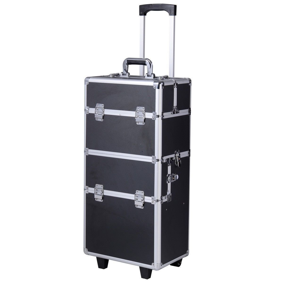 3 in 1 Pro Aluminum Rolling Makeup Case Salon Cosmetic Organizer Trolley-Black Diamond By Allgoodsdelight365