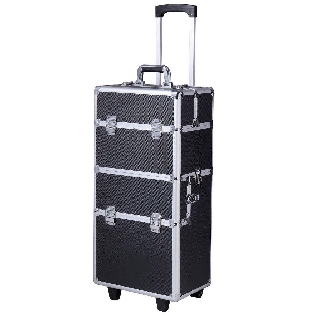 3 in 1 Pro Aluminum Rolling Makeup Case Salon Cosmetic Organizer Trolley - Black Diamond + FREE E-Book