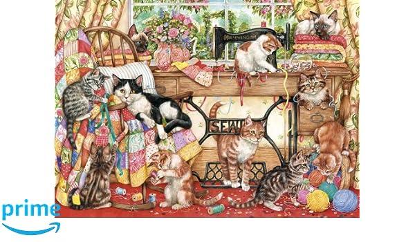 Gibsons G6108 - Puzzle con diseño de máquina de coser y gatos (1000 piezas): Amazon.es: Juguetes y juegos