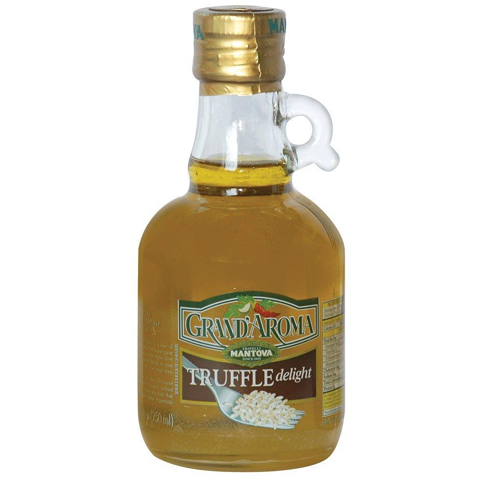 Mantova Grand Aroma Truffle Delight Extra Virgin Olive Oil, 8.5 Ounce - Finishing Oil with Black Truffle