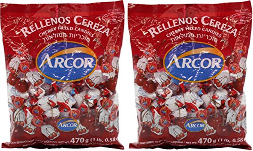 Arcor Kosher Fruit Flavored Cherry Hard Candy with Chewy Centers (Pack of 2) -