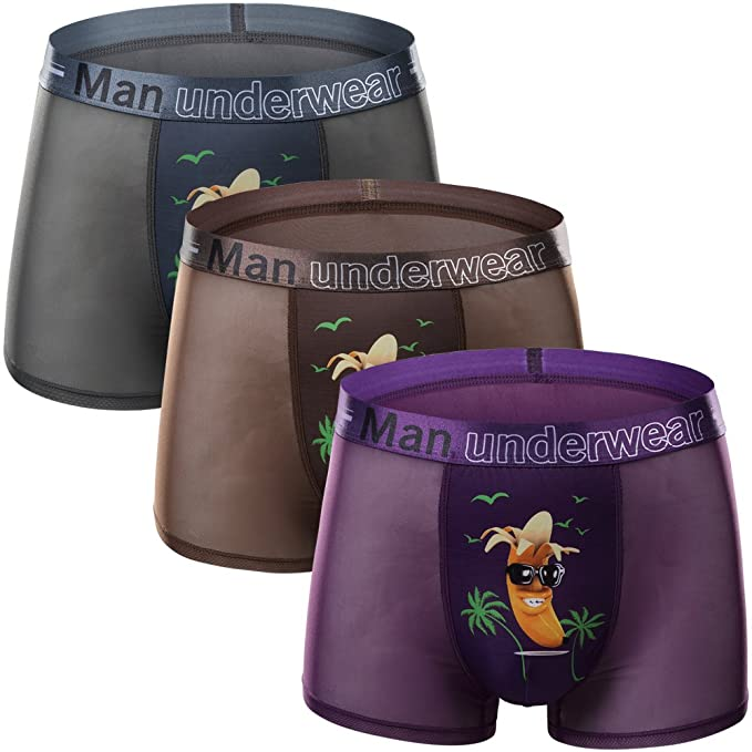 Mens Boxer Shorts Trunks Gift Underwear Novelty Ice Silk Boxers 3 Pack
