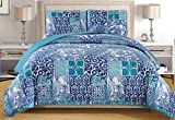 3-Piece Fine printed Quilt Set Reversible Bedspread Coverlet FULL / QUEEN, KING and CAL KING size Bed Covers