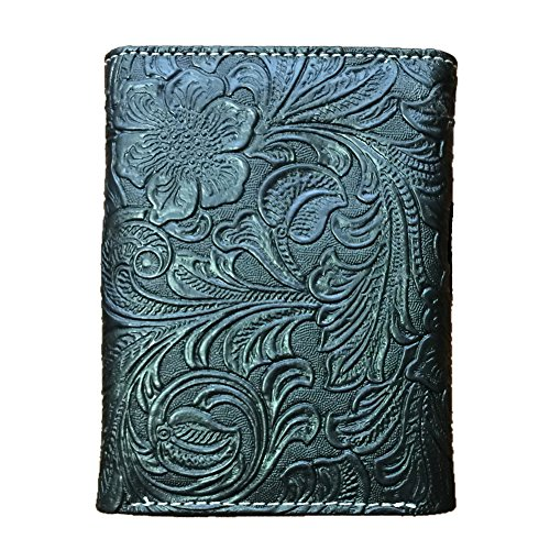 2015 New Design, Concho Cross Emblem with Beads Trifold Wallet. Ostrich Black.