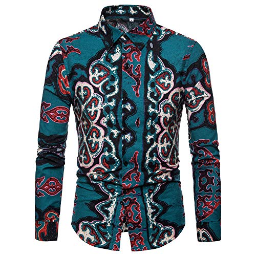OSTELY Men's Shirt, Autumn Winter Fashion Painting Button Long Sleeve Slim Fitted Tops Casual Blouse(Blue,Medium) ()