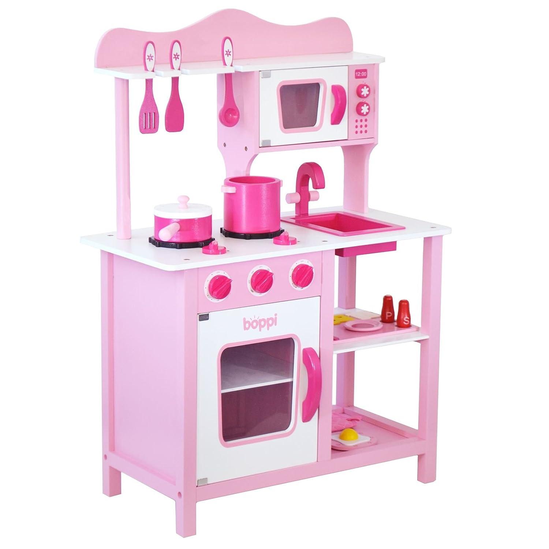 Bopster Kinder Pinke Holz-Spielzeug Küche mit 20 zugehörigenTeilen ...