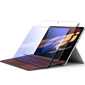 Surface Go Screen Protector,Tempered Glass Screen Protector for Microsoft Surface Go 2018 Released [2-Pack] [Clear and Anti Blue] [Installation Wings][ Scratch-Resistant]
