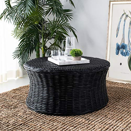 MISC Round Wicker Ottoman Black Large Rattan Coffee Table Rounded Shape Circular Footstool Indoor Living Room Furniture Strong Sturdy Beach Coastal Themed Lightweight, Wooden