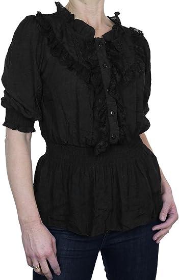 ICE (4058-1) Camisa elegante textura Negro brillante con ¾ mangas y Chorrera de encaje (38-42): Amazon.es: Ropa y accesorios
