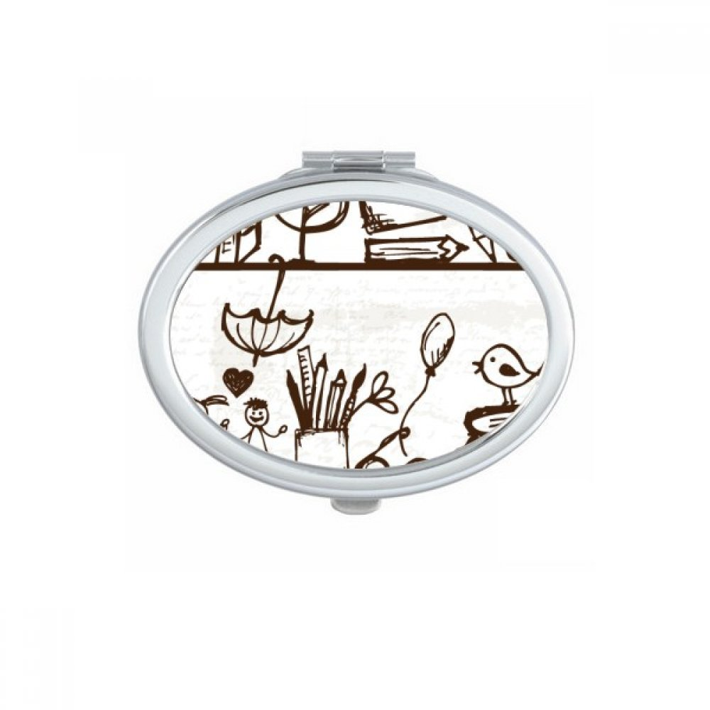 Childlike Children Cute Hand-drawn Illustration Bookshelf College Oval Compact Makeup Pocket Mirror Portable Cute Small Hand Mirrors Gift