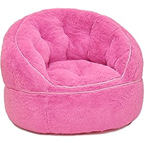 Heritage Kids Toddler Rabbit Fur Bean Bag Chair, Pink