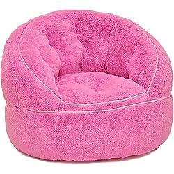 Heritage Kids Toddler Rabbit Fur Bean Bag Chair, Pink