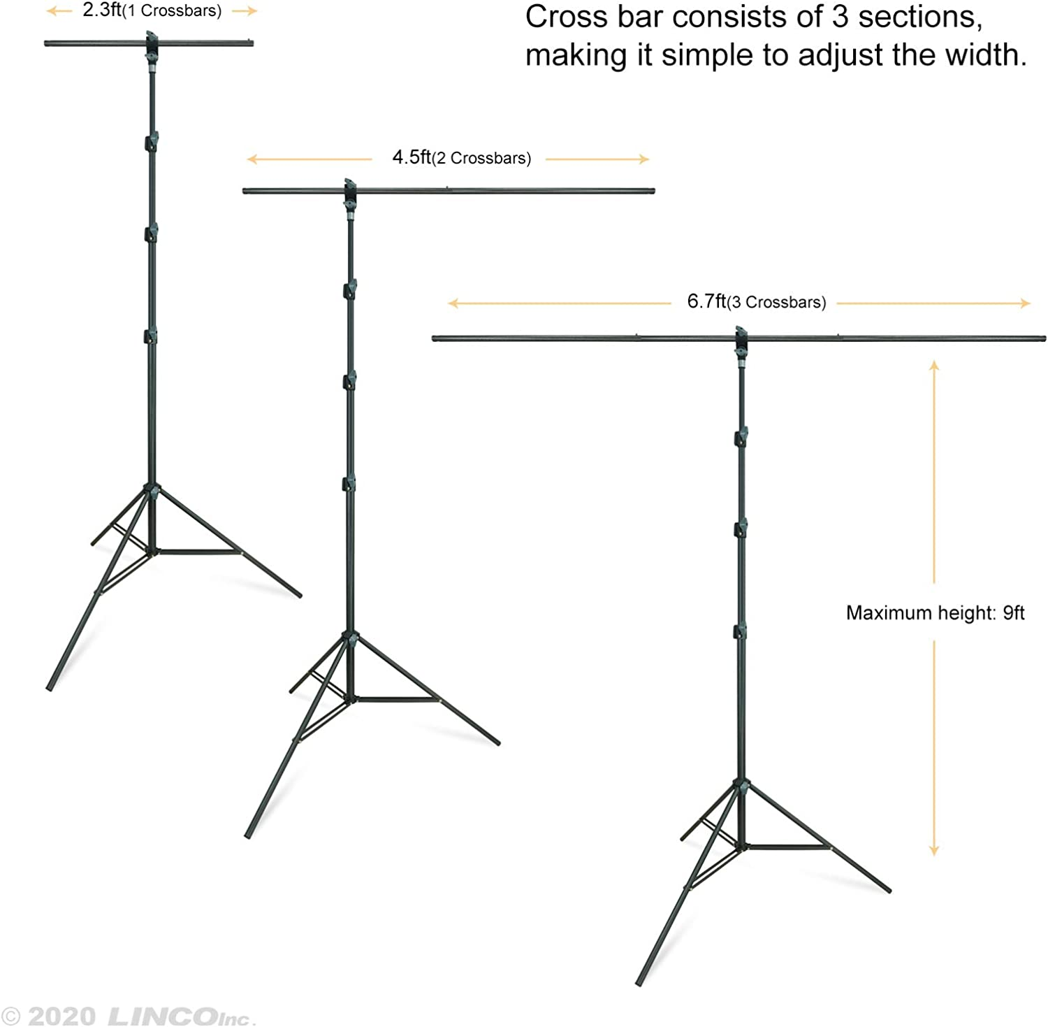 LINCO Lincostore T-Shape Portable Background Backdrop Support ...