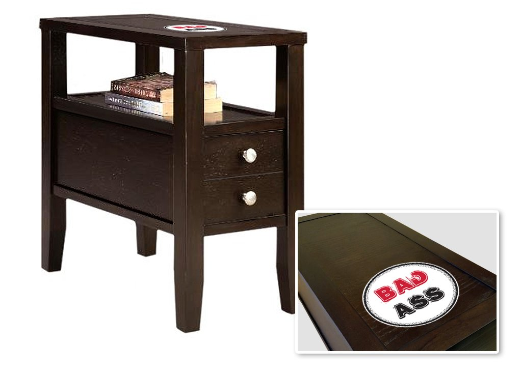 New Cappuccino / Espresso Finish Wooden End Table Night Stand with Drawer featuring Badass