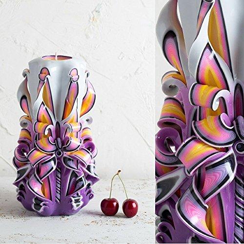 Purple Hand Carved Candle - Decorative Handmade - Vanity Lighting - DIY Candlemaker - - Fake Target Glasses Reading