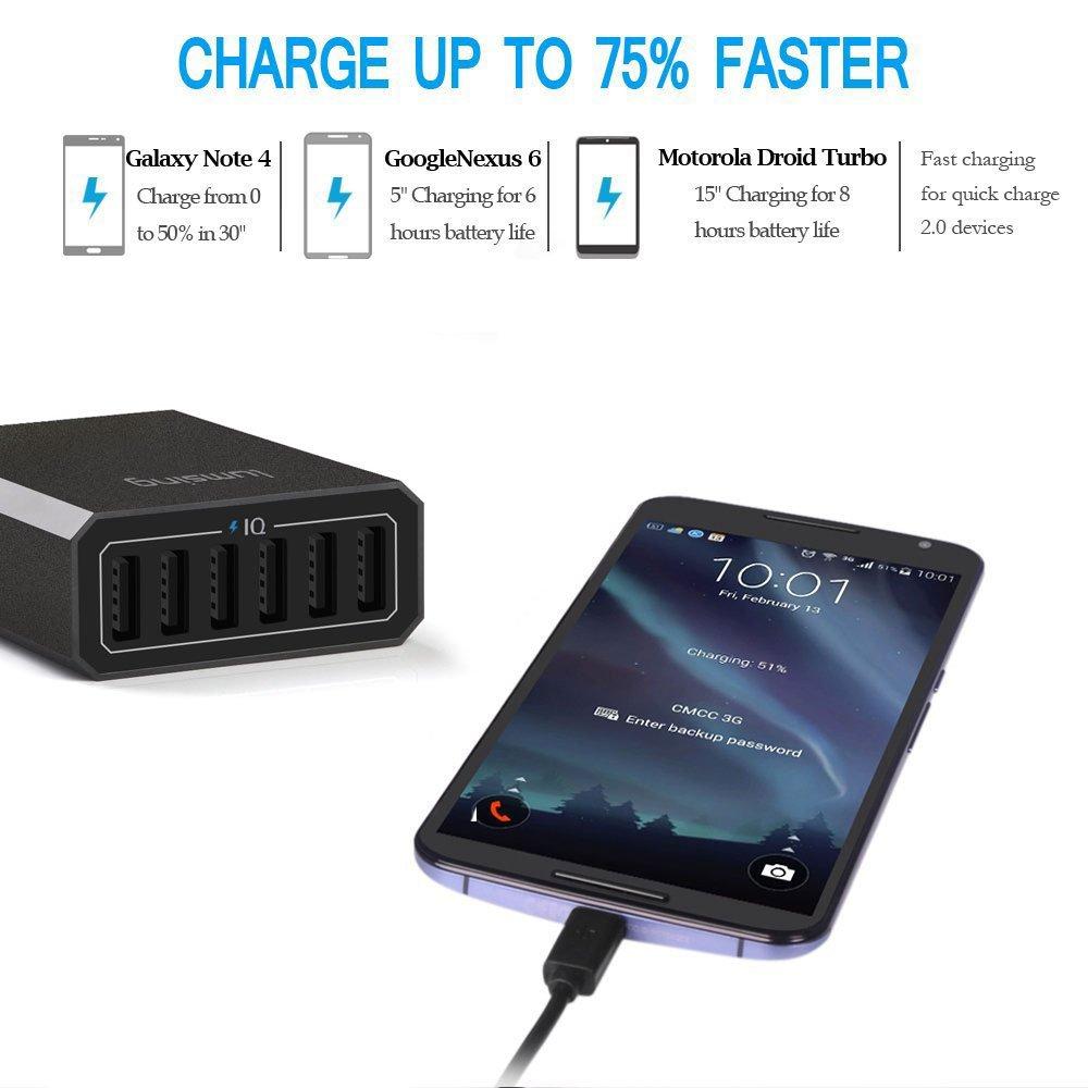 Lumsing 6 porte 60W Desktop Caricatore USB di ricarica adattatore con controllo intelligente per Samsung, iPhone, iPad, Apple, Smartphone e Tablets ecc. Nero