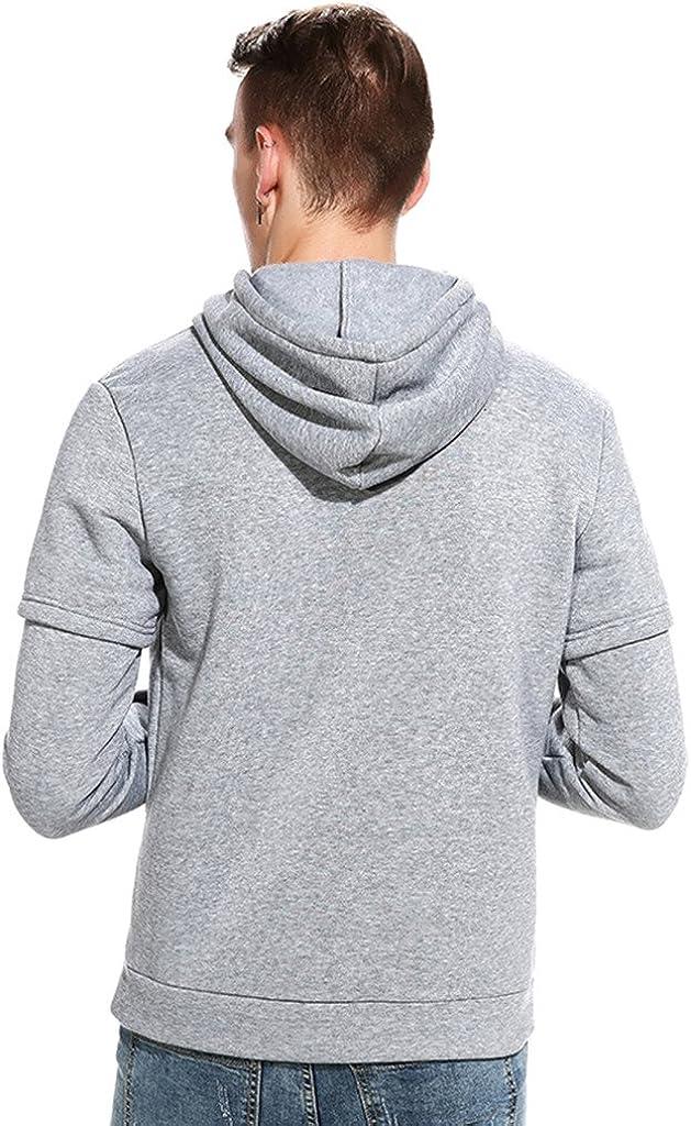 WHATLEES Mens Long Sleeve Fake Two Pieces Sport Hoodies