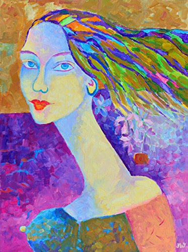 Woman portrait painting ON CANVAS 12x16 Fine art work Original oil Hand Painted Genuine Wall (Mdf Painted Chair)