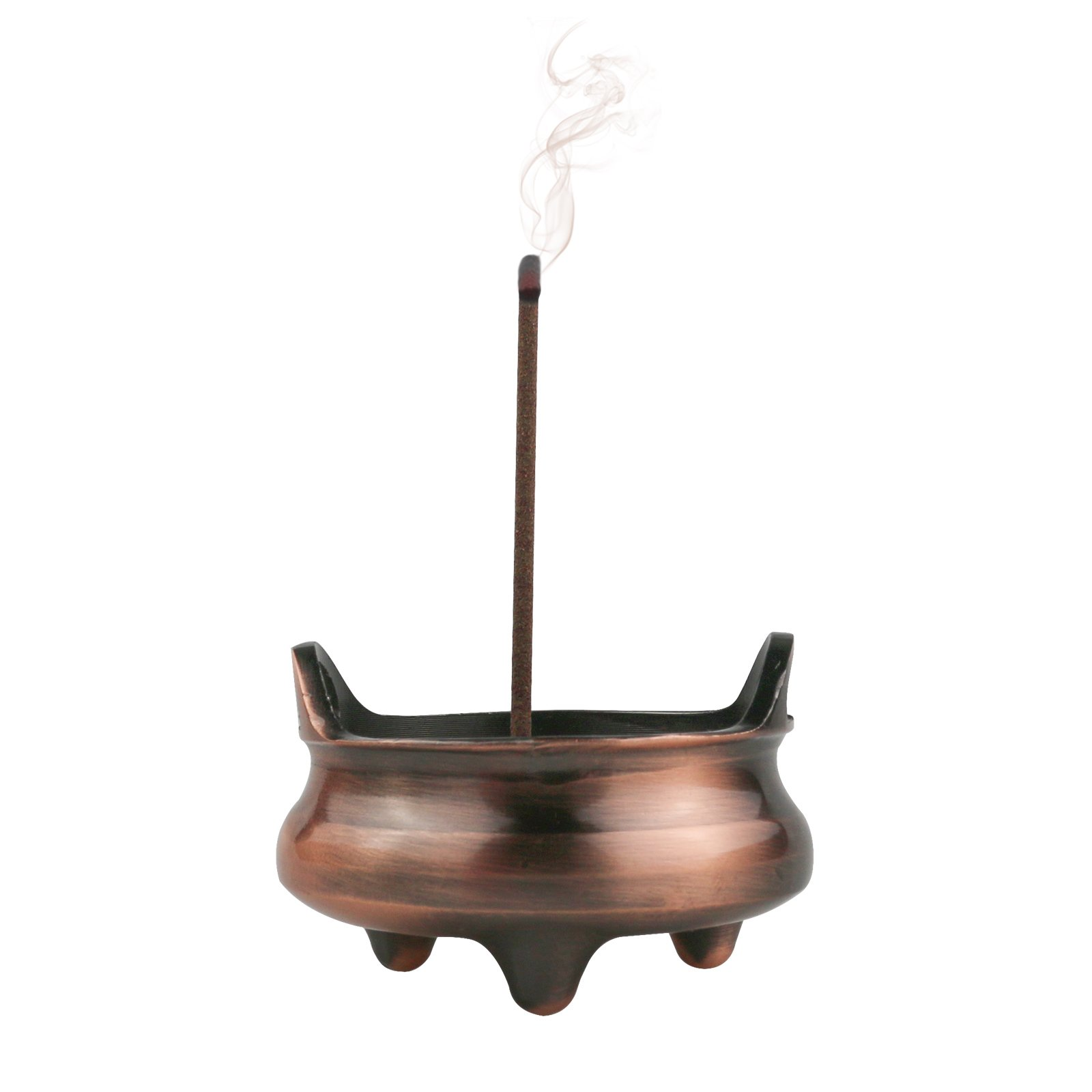 McDuets Incense Burner Holder | 3 Feet and 2 Ears Copper Zinc Alloy Small Censer | 7 Holes Support 1mm-4mm Diameter Sticks | for Cones | for Boys Grils Men Women Grandma Grandpa