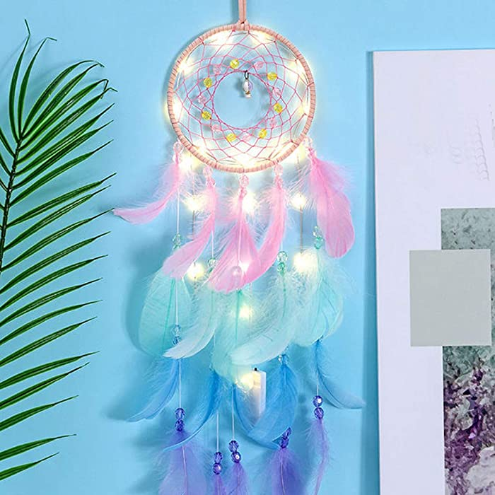 ko0 Dreamcatcher with LED String Light - Bohemain Decor for Bedroom Dream Catcher Wall Hanging Home Decor,Car Ornament, Boho Home Decor, Art Craft Gift for Kids Bedroom Dorm Living Room