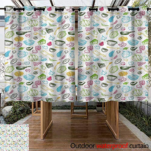 Sunnyhome Curtains for Living Room Vegetables Kitchen Elements Pot for Porch&Beach&Patio W 63