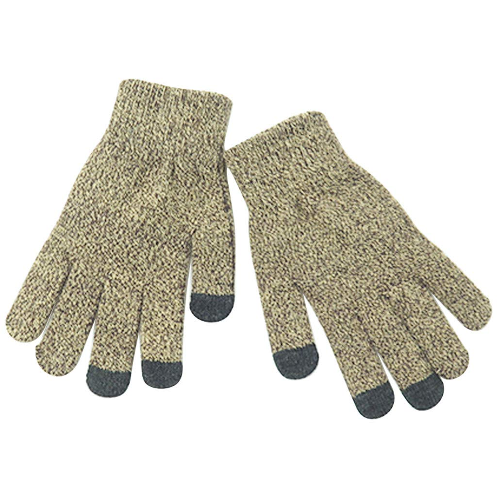 Touch Screen Gloves,Lollyeca Winter Outdoor Ski Mountain Climbing Knit Mittens (C)