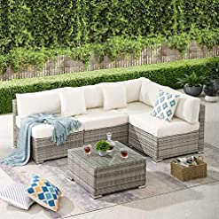 Garden and Outdoor Tribesigns 5 Pieces Patio Furniture Set, Outdoor Sectional Sofa Wicker Rattan Couch Conversation Set with Cushions and… patio furniture sets