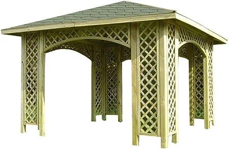 Stan-Wood Cenador 3 m x 3 m (Medida Exterior 3, 5 m) Madera Carpa con Techo de Madera, Enrejado Tejas.: Amazon.es: Jardín