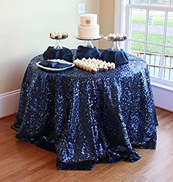 Genial Sequin Tablecloth 72 Inch Round Navy Blue, Sweetheart Table Cloth