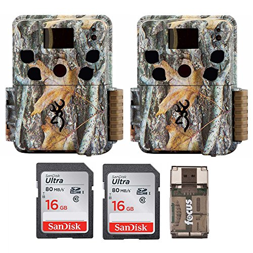 Two Browning Dark Ops HD Pro Trail Cameras (BTC-6HDP) with 16GB Memory Cards and Focus Card Reader