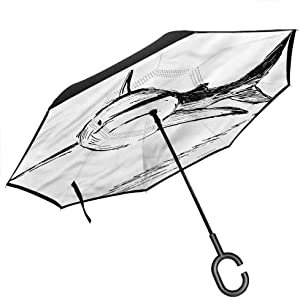 "Kgblfd Shark Car Reverse Umbrella, Doodle Art of Tropic Mammal Upside Down UV Protection Windproof, 42.5""x31.5""Inch"