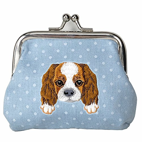 ([ CAVALIER KING CHARLES SPANIEL ] Cute Embroidered Puppy Dog Buckle Coin Purse Wallet [ Blue Polka Dots ])