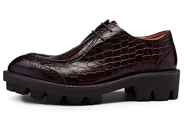 Zorgen Men's Dress Shoes Genuine Leather Lacing up Wedding Formal Oxfords Shoes, Red, 6 D(M) US=EU38