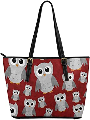 InterestPrint Women Totes Top Handle HandBags PU Leather Purse Cute Owl