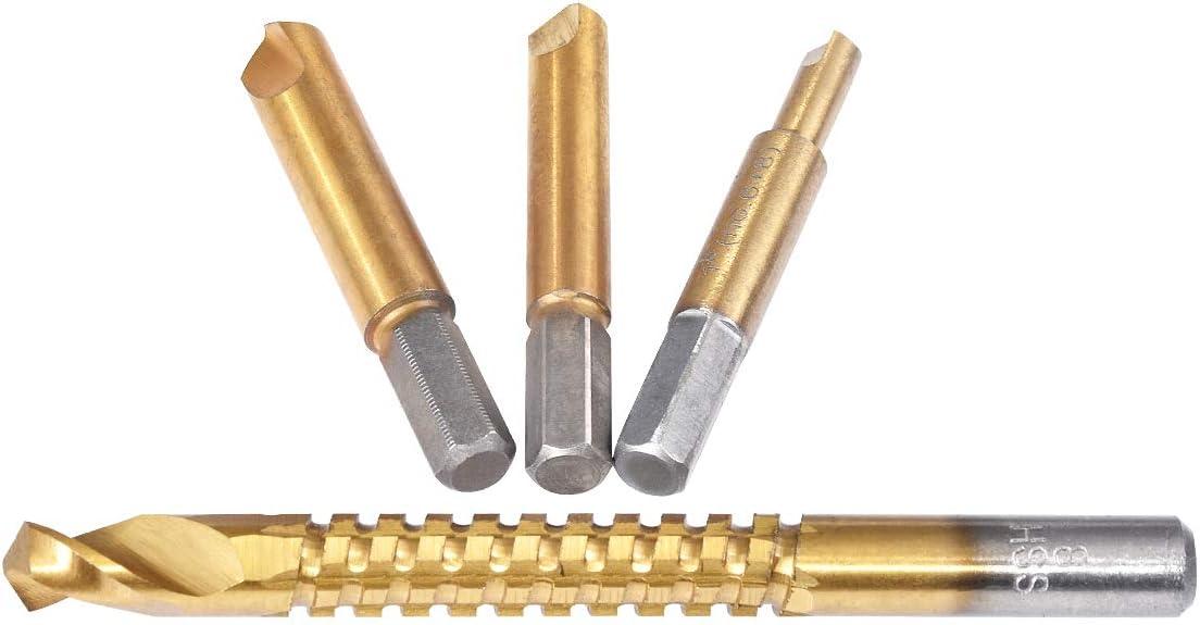Juego de brocas extractoras de tornillo dañado HSS KATUR de 4 piezas con estuche, extractor de pernos de titanio, extractor de tornillos rotos y extractor (vástago de 1/4 pulgadas)